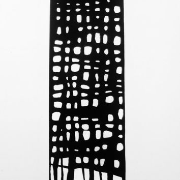 Abstract Painting Black and White Art Original Modern Art Painting OOAK Minimalism SQUiD Art 6 x 24 inch Canvas FREE SHiPPiNG (Canada & US)