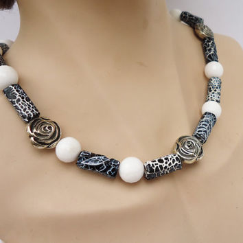 White Coral and Weather Agate Necklace, White and Black Necklace, Gemstone Necklace, UK Seller