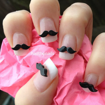 10 x Black Moustache 3D Nail Art Decoration for Natural Acrylic False Nails YD029
