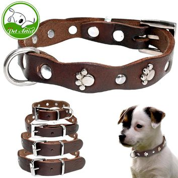 Handmade Genuine Leather Pet Dog Collar With Paw Adjustable For Small Medium Puppy Dogs Chihuahua Pitbull Size XXS XS S M Brown