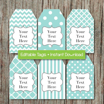 Editable Printable Labels Gift Tags Thank You Tags JPG File Light Teal Grey INSTANT DOWNLOAD Digital Collage Baby Shower Birthday 008