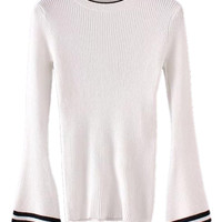 White Flared Sleeve Knit Jumper