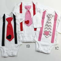 Valentines Baby Outfit. Newborn boy clothes. Baby boy clothes. Tie and suspender outfit. Heart tie. Baby tie.