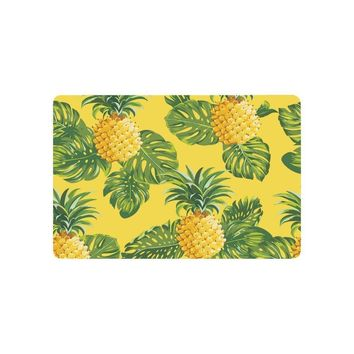 Autumn Fall welcome door mat doormat Warm Tour Pineapples and Tropical Leaves Anti-slip  Home Decor Yellow Indoor Outdoor Entrance  Rubber Backing AT_76_7