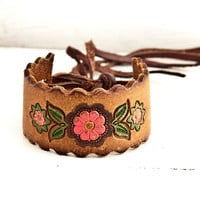 Floral Accessory Leather Wristband by rainwheel on Etsy
