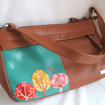 Upcycled purse. Womens handbag. Aqua & tan tote with woodland / tree theme, revamped with decoupage - recycled eco bag