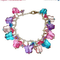 ON SALE Pink, Purple and Blue Butterfly and Flower Cluster Bracelet