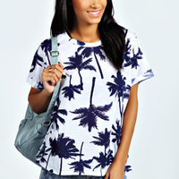 Erika Palm Print Burnout T-Shirt