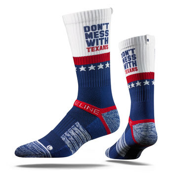 Strideline® 2.0 Don't Mess With Texans Red White Blue Crew Socks NEW