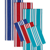 Design Imports Beach Stripe Dish Towel& Dish Cloth Set (2 PC)
