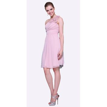 Dusty Rose One Shoulder Chiffon Knee Length Bridesmaid Dress