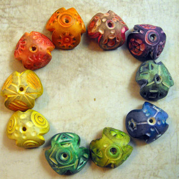 10 Big Colorful Artisan Bead Caps - Handmade from Polymer Clay
