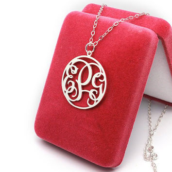 Any monogram letter necklace 925 sterling silver personalized 3 initial monogram jewelry customized