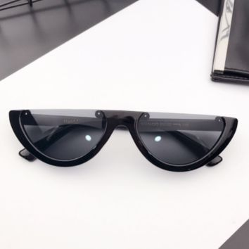 Eyecandy Half Frame Sunglasses - Black/black