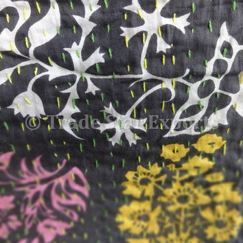 Exclusive Suzani Printed Kantha Quilt, Handmade Indian Cotton Bedspread, Queen Size Kantha Throw, Black Color, Suzani Print with Kantha Work