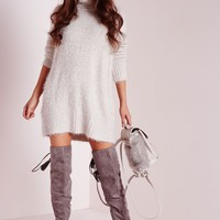 Missguided - Fluffy Roll Neck Jumper Dress Grey