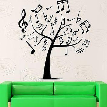 Wall Stickers Tree Sheet Music Cool Room Decor Vinyl Decal Unique Gift (ig2411)