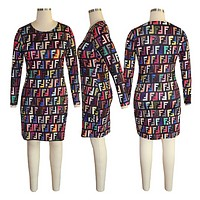 Fendi Print Women Short Sleeve Dress
