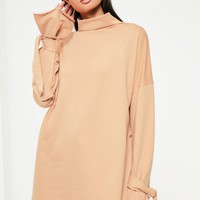 Missguided - Nude Knot Cuff High Neck Sweater Dress