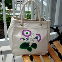 Hand Painted Tote Purse Handbag wih Purple Flowers