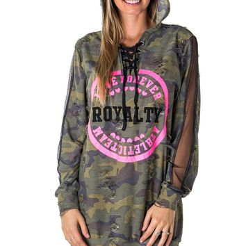 Ladies fashion mesh hoody sweatshirt tunic tops with applique, distress and lace up