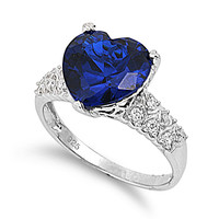 925 Sterling Silver CZ Pave Sided Heart Simulated Sapphire Ring 12MM