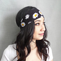 Printed Headband Tribal Print Headwrap Bohemian Hair Accessories Black Daisy Yoga Headband Hippie Headband