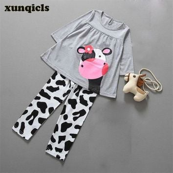 xunqicls Baby Girls Long-sleeved +Pants Children's Suit Cartoon Cow Girl Tops Kids Clothing Sets