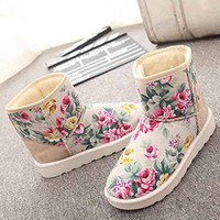 2015 New Women Wram Boots Flower Printting Snow Boots Flat Heel Winter Ankle Boots Plush Inside Shoes Winter Thicken Artificial