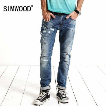 SIMWOOD 2018 New spring  Fashion Hole Jeans Men Long Trousers skinny ripped distressed  jeans  Denim Pants Plus Size SJ6083