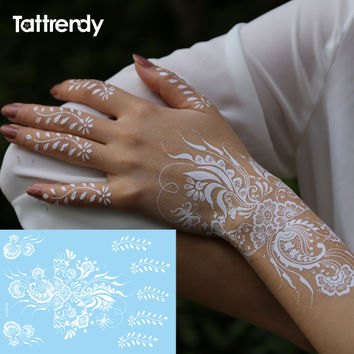 1sheet White Lace Henna Flash Tattoo Butterfly Feather Fake Temporary Tattoos Sticker Arabic Indian Summer Style Body Art S1013