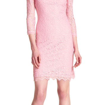 Three Quarter Sleeve Lace Cocktail Dress - Adrianna Papell