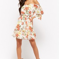 Floral Print Off-the-Shoulder Mini Dress