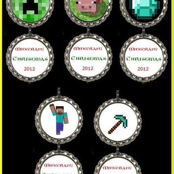 Minecraft Christmas Ornament - Set of 5 - Holiday minecraft bottlecap Ornaments