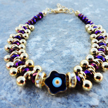 Metallic purple swarovski evil eye bracelet, women, birthday, girl, christmas, elegant, stylish, crystal, birthday, friendship, old frump