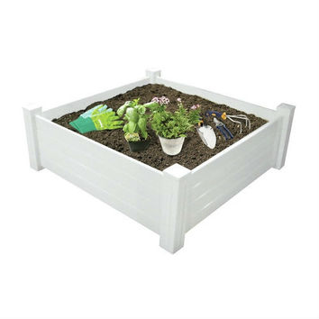 4' X 4' Extra Tall Outdoor White Raised Garden Planter Bed