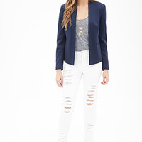 LOVE 21 Collarless Open-Front Blazer