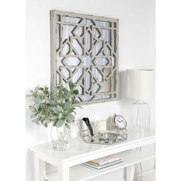 Kate and Laurel Andressa Grey MDF and Glass Square Distressed Geometric Framed Mirror | Overstock.com Shopping - The Best Deals on Mirrors
