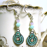 Fairy Garden Swarovski Mint and Rose Opal Crystal Dangle .925 Earrings