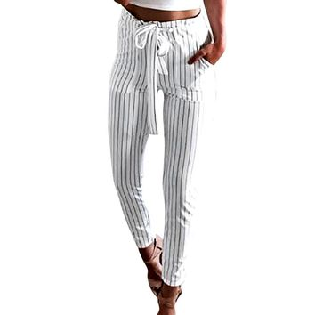 Dazzling Striped Drawstring Pants