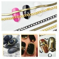 3D Nail Metal Chain Hollow Stencil Sticker Nails Art Decor Decals Manicure Tools