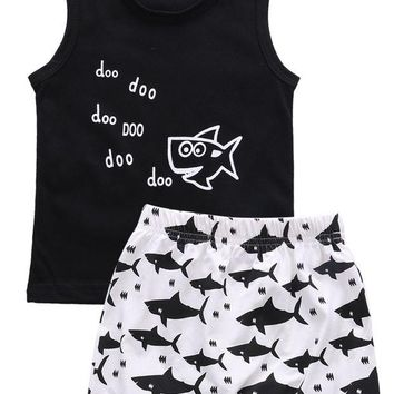 DCCKL3Z New 2016 summer baby boy clothes fashion cotton Sleeveless Tank Top+Fish Printed Shorts baby boys clothing set infant 2pcs suit
