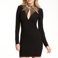 bebe Womens Embellished Neck Detail Dress Black Gold