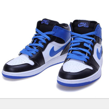 Nike  Air Jordan Retro 1 High Tops Contrast Sports shoes black white-sapphire blue hook H-CSXY