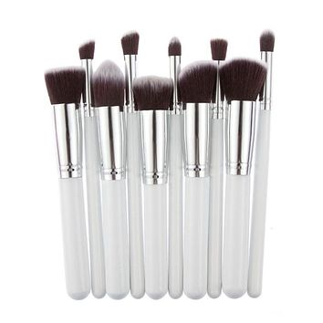 10pcs Fashion Silver And Gold Professional Soft Cosmetic Eye Eyebrow Shadow Makeup Brush Set Tool Kit pinceles de maquillaje