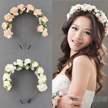 Pink/White Flower Boho Floral Headband Garland Festival Wedding Bridal Hairband = 1932141252