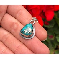 Natural Turquoise Sterling Silver Pendant Necklace