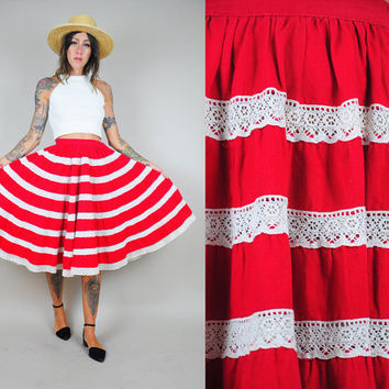 vtg 50's lace STRIPED full Circle SKIRT bombshell party high waist Cotton swing illusion xs