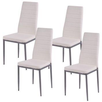 Costway Set of 4 PU Leather Dining Side Chairs Elegant Design Home Furniture White - Walmart.com