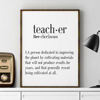 TEACHER Print Adjective Funny Definition Funny Print Printable Poster Typography Print Word Poster Definition Print Funny Gift For Teacher
